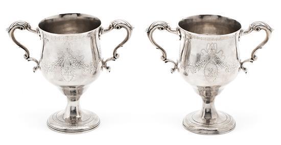 Pareja de copas con asas irlandesas en plata de Dublín, de 1791