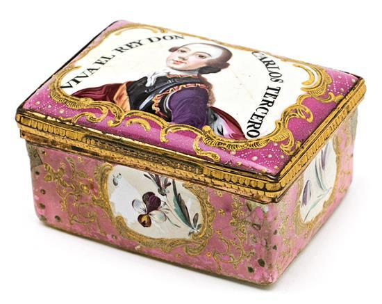 Caja Carlos III en cobre esmaltado con montura en latón probablemente centroeuropea para el mercado español, hacia 1759