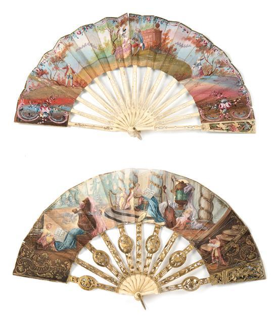Two Louis XVI fans with sticks in polychrome, gilded and fretted bone, last third of the 18th Century. Grounds painted in gouache