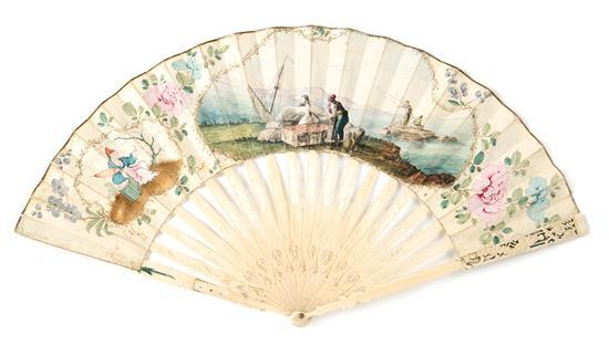 Chinese and European Louis XVI-style fan with engraved ivory sticks, last third of the 18th Century. Ground painted in gouache