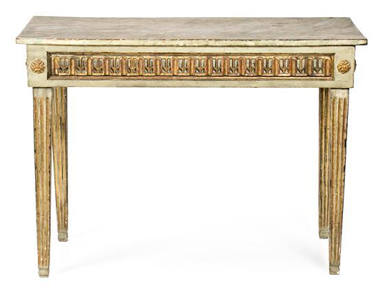 Charles IV console table in carved and polychrome wood, late 18th Century