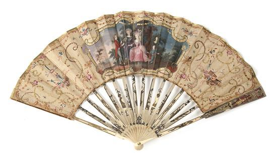 Louis XVI fan with sticks in engraved ivory, last third of the 18th Century. Ground painted in gouache and with sequins