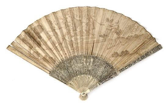 Louis XVI fan with sticks in engraved ivory, last third of the 18th Century. Ground in grisaille