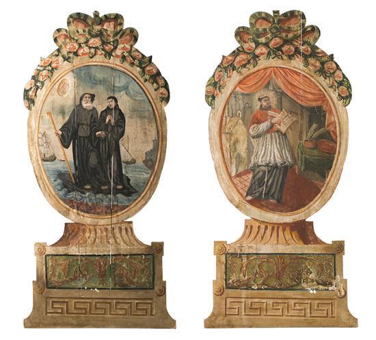 Pareja de cabezales de cama Carlos IV en madera policromada, de finales del siglo XVIII