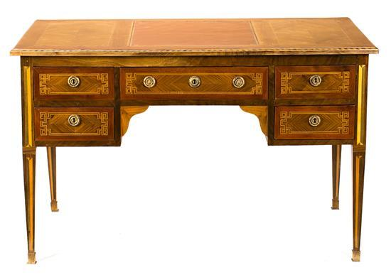 Charles IV writing desk in walnut and rosewood with fine wood inlay, circa 1800