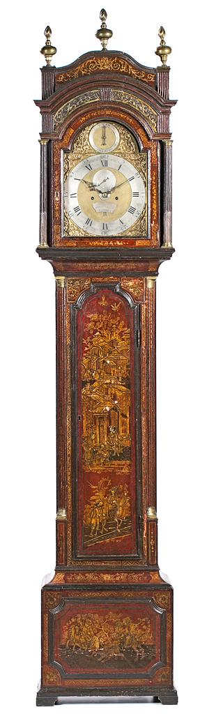 English grandfather clock for the Spanish market in wood lacquered with