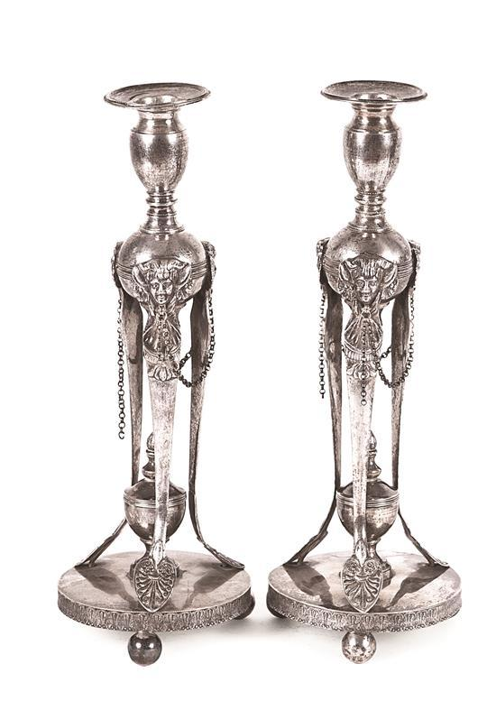 Pair of Empire silver candlesticks, early 19th Century
