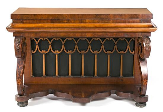 Ferdinand VII console table in mahogany and walnut with boxwood inlay, circa 1830