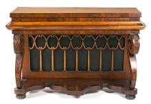 Ferdinand VII console table in mahogany and walnut with boxwood inlay, circa 1830