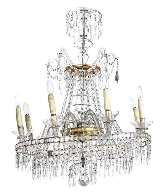Lámpara de techo Carlos IV de sartas de cuentas de cristal tallado, hacia 1800