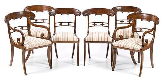 Juego de cuatro sillas y dos sillones Restauración en caoba, del segundo cuarto del siglo XIX