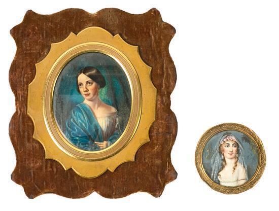 Escuela probablemente francesa, del siglo XIX Damiselas Dos retratos en miniatura al gouache