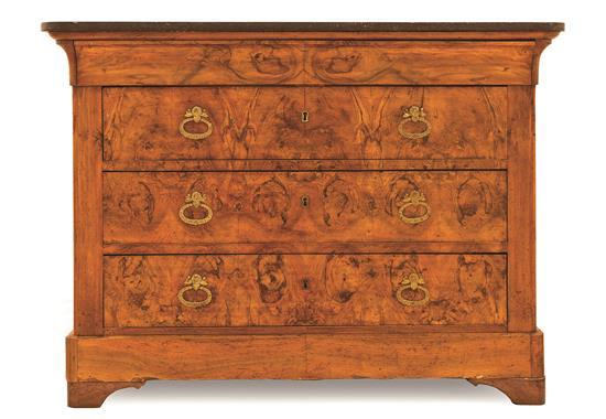 French Charles X chest of drawers in burr walnut with bronze handles, first third of the 19th century