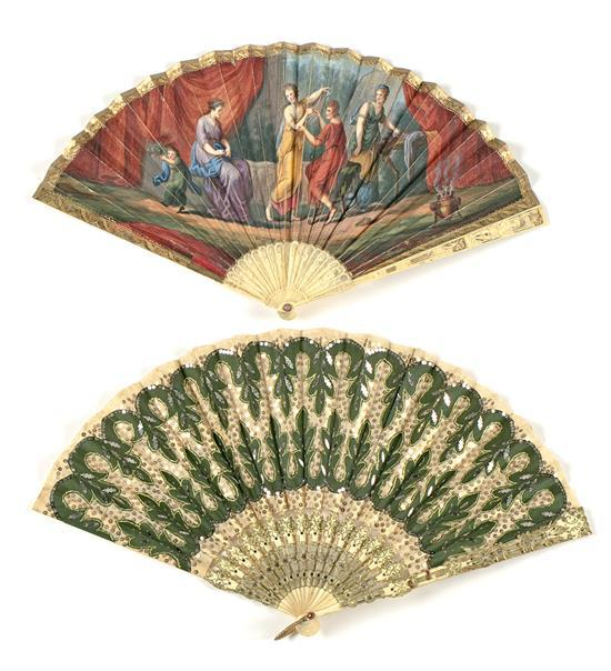 Directoire fan with ivory sticks and neo-Empire fan with bone sticks, late 18th Century and early 20th Century