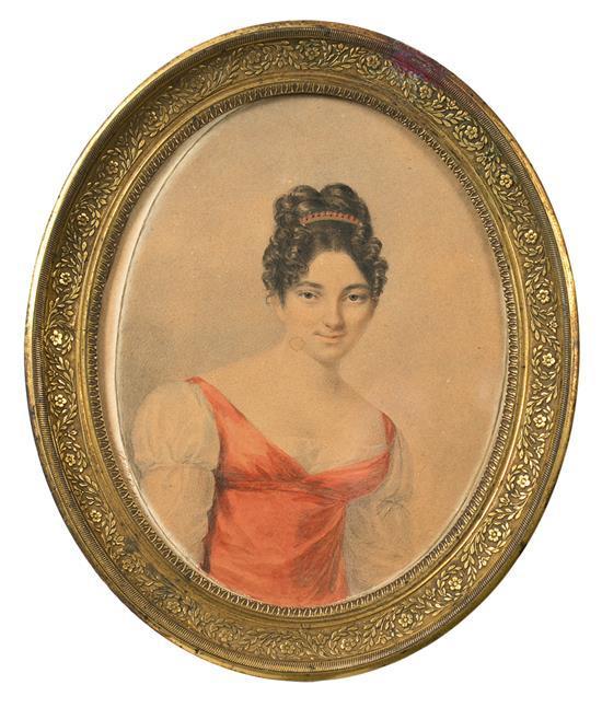 Jeanne Henriette Rath Ginebra, 1773-1856 Damisela Retrato en miniatura a la acuarela sobre papel