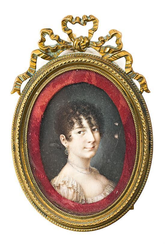 Escuela española del primer tercio del siglo XIX Damisela Miniatura al gouache