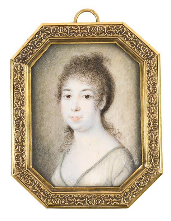 Escuela probablemente francesa, hacia 1810 Una joven Miniatura al gouache