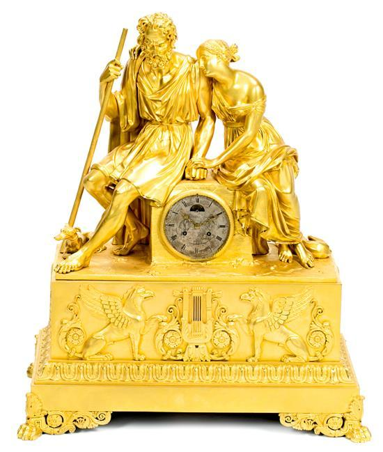 French Charles X-Louis Philippe monumental gilt-bronze centrepiece table clock, with two faces, 1834