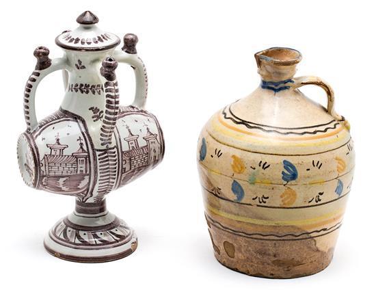 Botijo y jarra en loza de Talavera y de Puente del Arzobispo, del siglo XIX