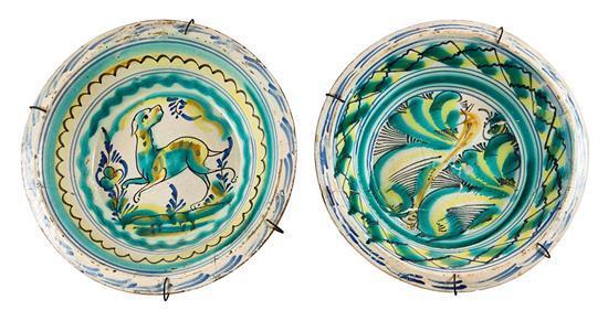 Dos lebrillos andaluces en loza de Triana, del siglo XIX
