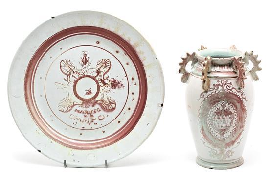 Gran plato y orza en loza de La Moncloa, hacia 1886