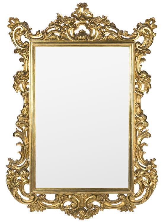 Large mirror with 18th century-style frame in carved and gilded wood, 19th century