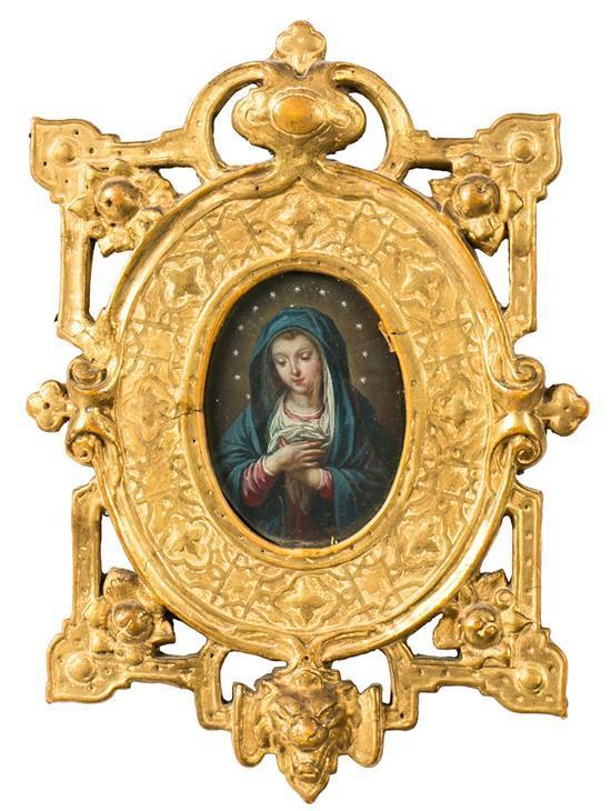 Escuela española del siglo XVIII Inmaculada Óleo sobre cobre en miniatura