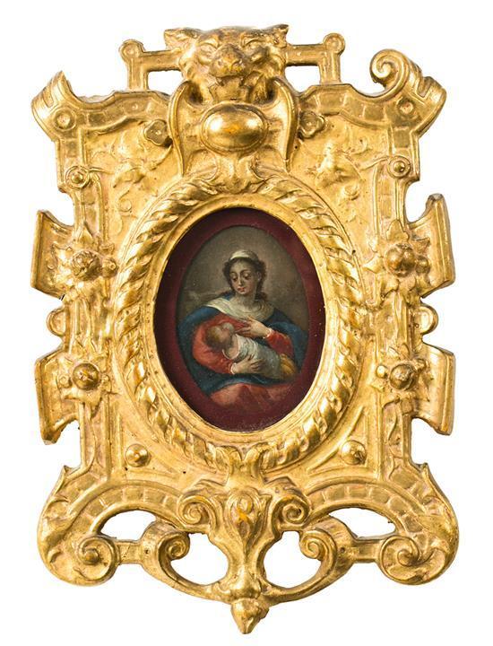 Escuela española del siglo XVIII Virgen con el Niño Óleo sobre cobre en miniatura