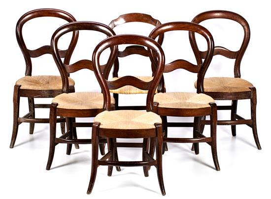 Set of six Isabella II mahogany chairs, second third of the 19th Century