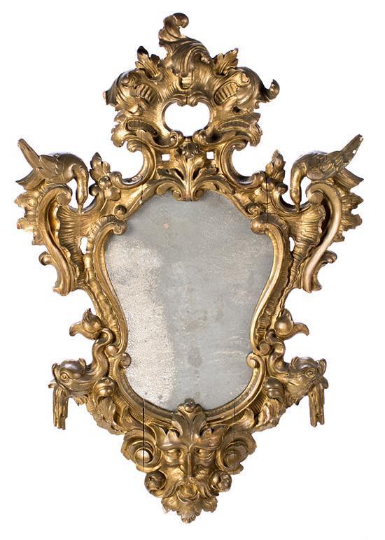 Cornucopia Isabelina en madera tallada y dorada, de mediados del siglo XIX