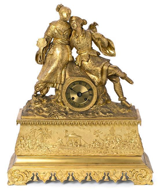 Reloj de sobremesa francés Luis Felipe en bronce dorado, del primer tercio del siglo XIX