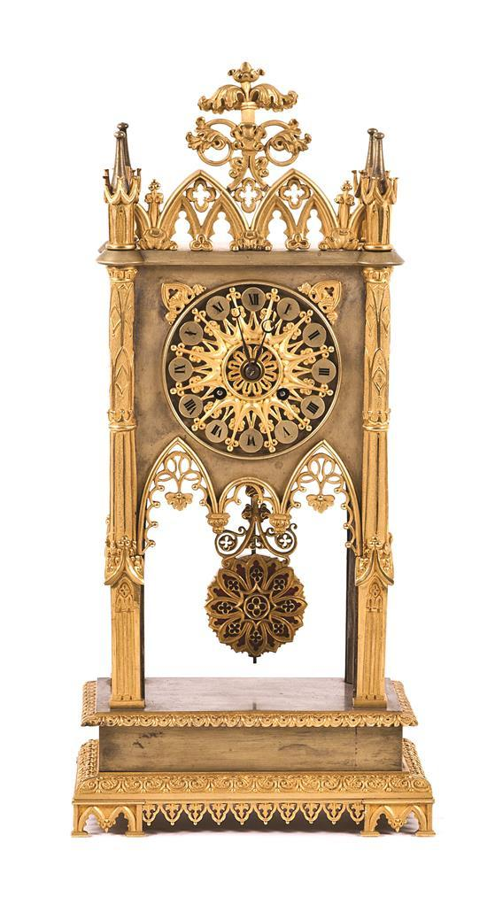 Louis Philippe neo-Gothic gilt-bronze table clock, first third of the 19th century