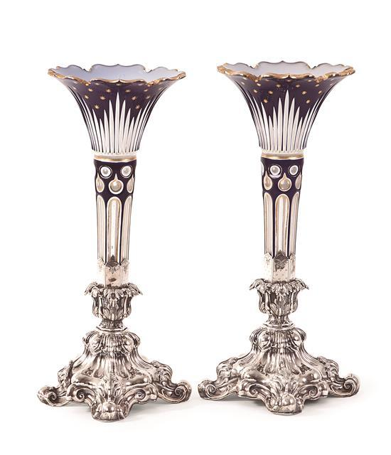 Pair of vases in folded and cut crystal, partially gilded, 19th century