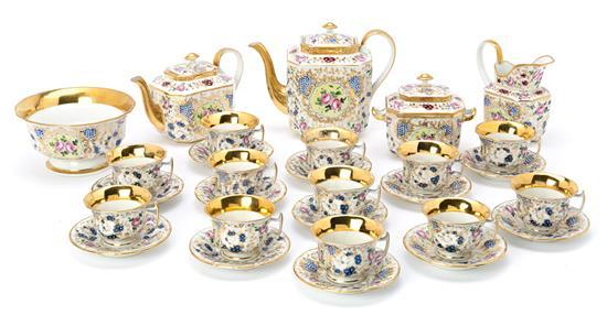 French tea set in Vieux Paris porcelain, second half of the 19th century