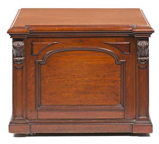 Victorian mahogany trunk by Hobbs and Co. of London, late 19th Century