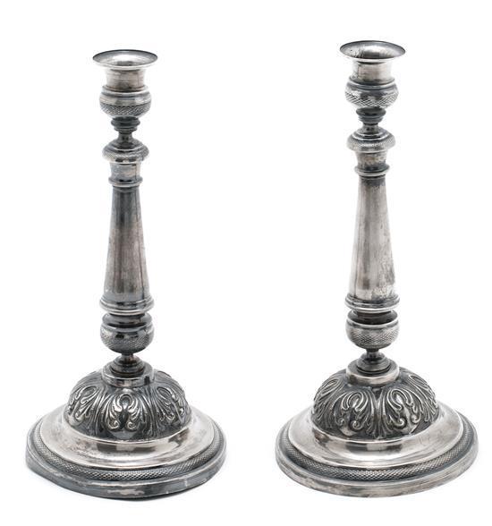 Pareja de candeleros barceloneses fernandinos en plata, del primer tercio del siglo XIX