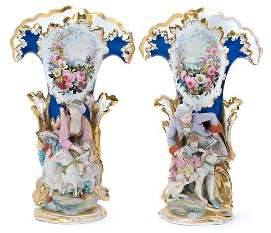French Napoleon III pair of biscuit porcelain vases, third quarter of the 19th century