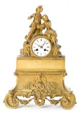 French gilt-bronze table clock, mid 19th Century
