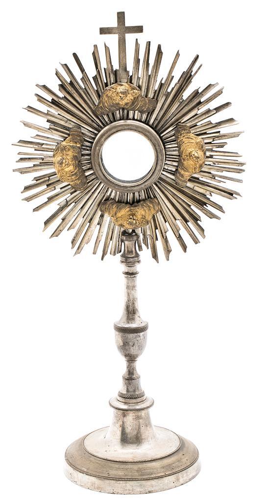 Custodia neoclásica en bronce plateado y dorado, hacia 1800