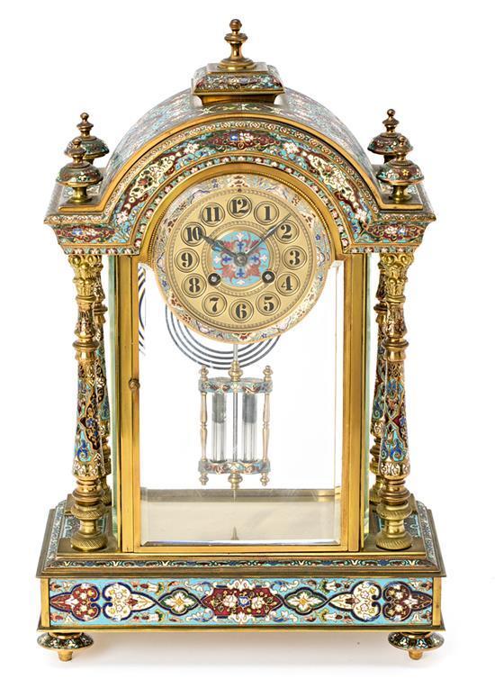 Reloj de sobremesa francés en bronce dorado y esmaltado en