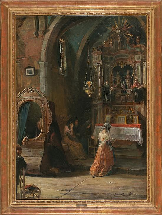 Julio Borrell Pla Barcelona 1877 - 1957 Church interior