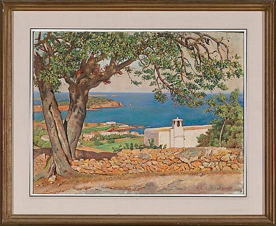 Joan Soler Puig Barcelona 1906 - 1984 Coastal view, probably from the Balearic islands