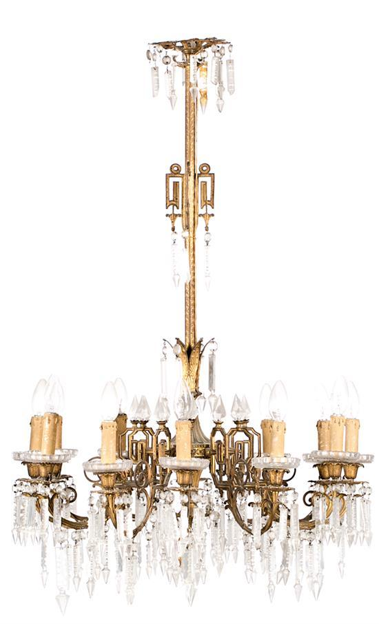 French Napoleon III-style ceiling light in gilt bronze with cut-crystal teardrops, last quarter of the 19th Century