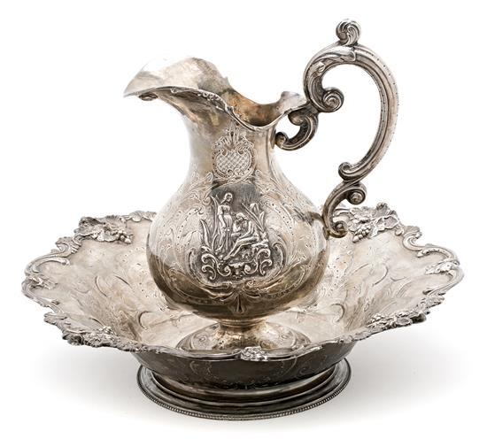 Matching French Paris silver ewer and basin, third quarter of the 19th century
