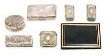 Seven cigarette cases and pillboxes in silver and silver-plated metal, late 19th-first half of the 20th Century