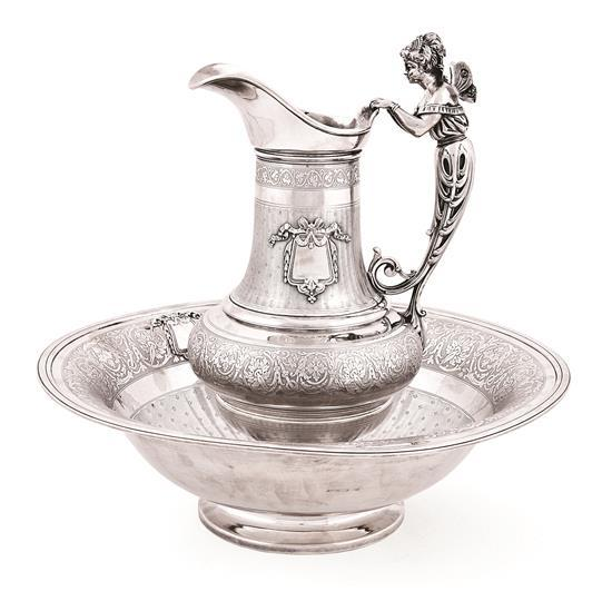 French Paris silver ewer and basin, last third of the 19th century