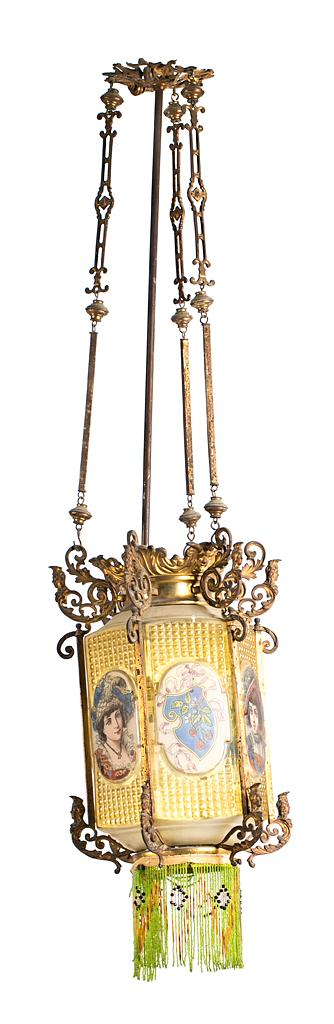 French ceiling light, in the form of a lantern, in bronze and moulded and enamelled glass, last quarter of the 20th Century