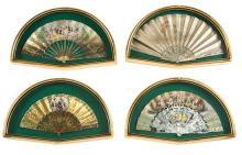 Cuatro abanicos isabelinos y modernista con varillajes en nácar y asta con países en papel y seda, de mediados del siglo XIX a princ...