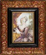 A. Gobeaux Activo en Francia a finales del siglo XIX Joven Miniatura al gouache