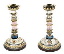 Pareja de candeleros italianos en plata, parcialmente dorada, cristal de roca y lapislázuli de El Vaticano, de finales del siglo XIX...
